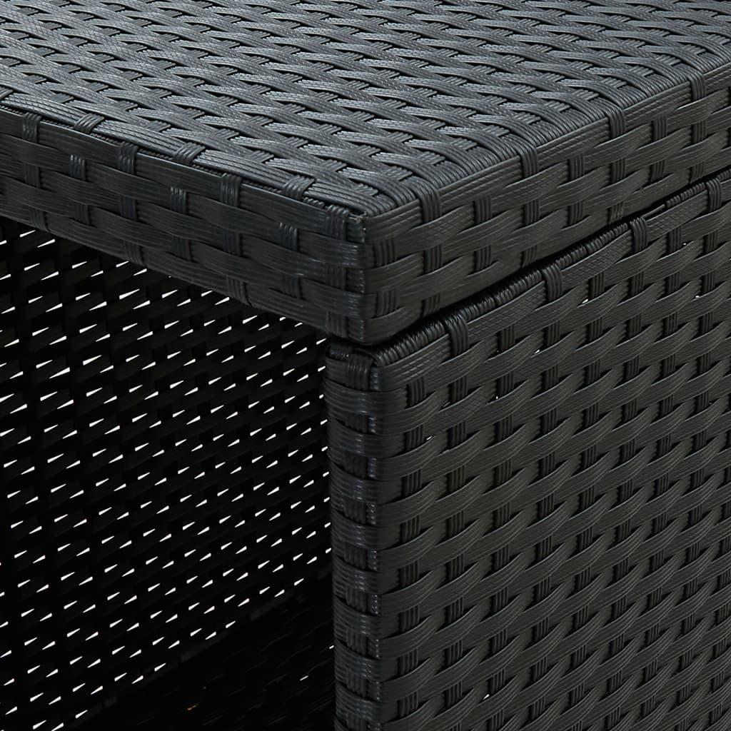 vidaXL Bartafel met opbergrek 120x60x110 cm poly rattan zwart