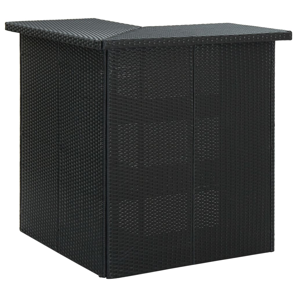 vidaXL Masă de bar colțar, negru, 100 x 50 x 105 cm, poliratan poza vidaxl.ro