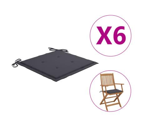 vidaXL Coussins de chaise de jardin 6 pcs Anthracite 40x40x4 cm Tissu