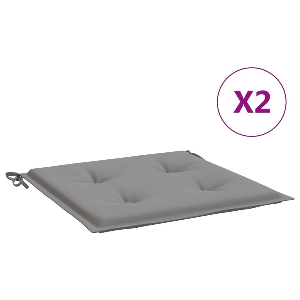 vidaXL hynder til havestol 2 stk. 40x40x4 cm stof grå