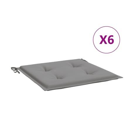 vidaXL Coussins de chaise de jardin 6 pcs Gris 40x40x4 cm Tissu