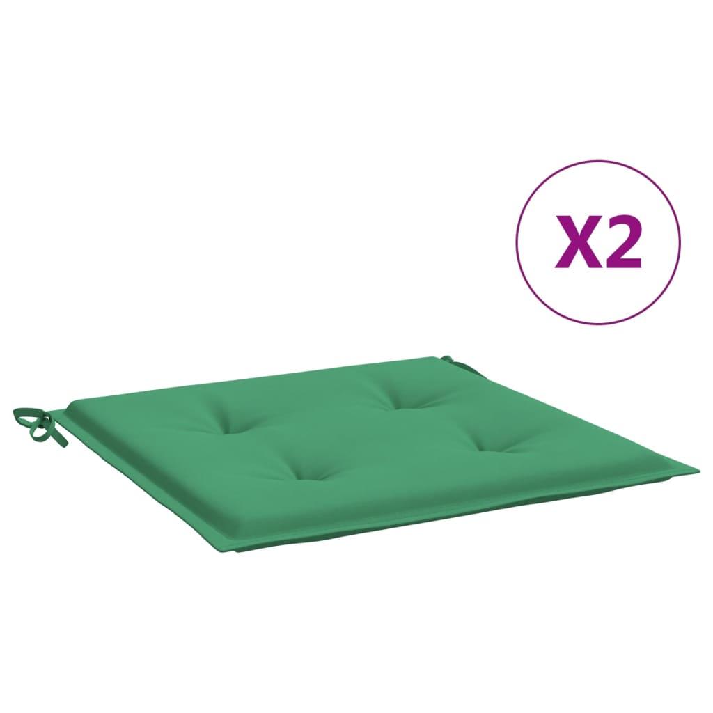 vidaXL hynder til havestol 2 stk. 40x40x4 cm stof grøn