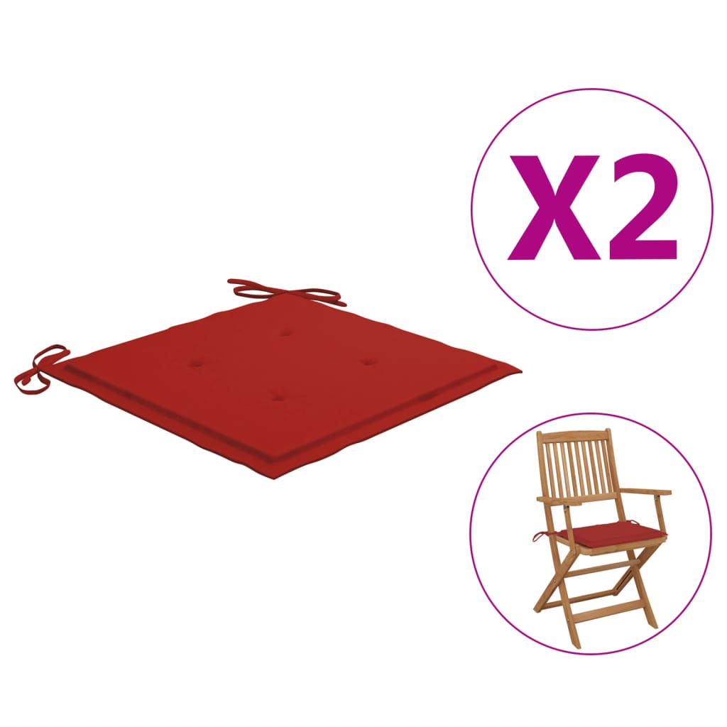 vidaXL hynder til havestol 2 stk. 40x40x4 cm stof rød