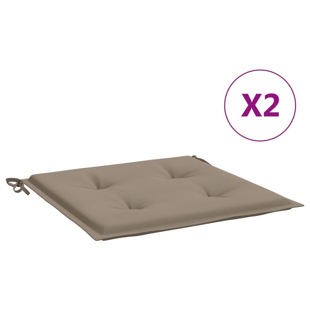 vidaXL hynder til havestol 2 stk. 40x40x4 cm stof gråbrun