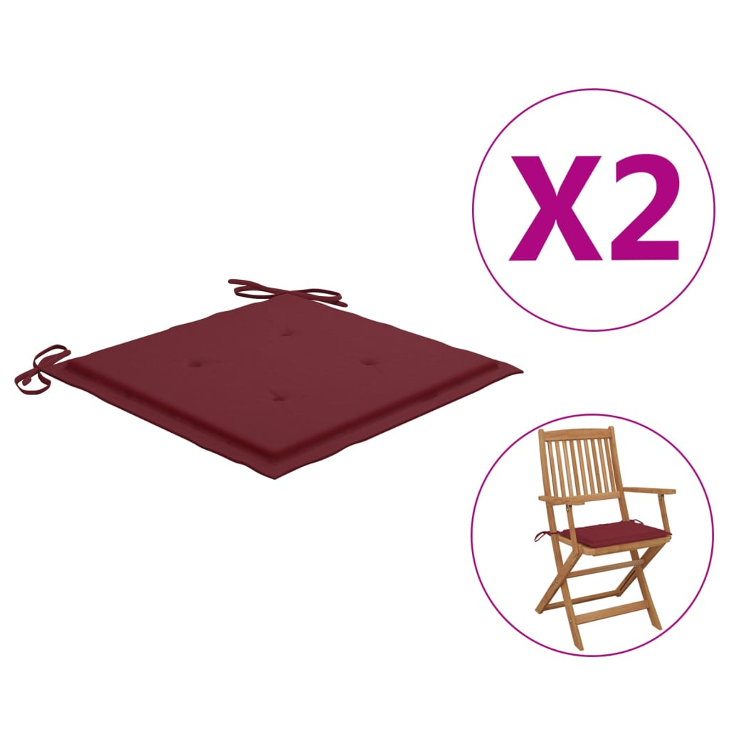 vidaXL hynder til havestol 2 stk. 40x40x4 cm stof vinrød