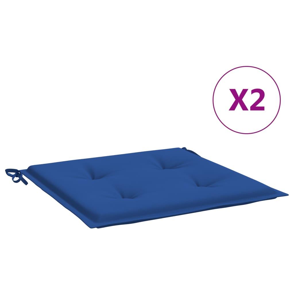 vidaXL hynder til havestol 2 stk. 40x40x4 cm stof kongeblå