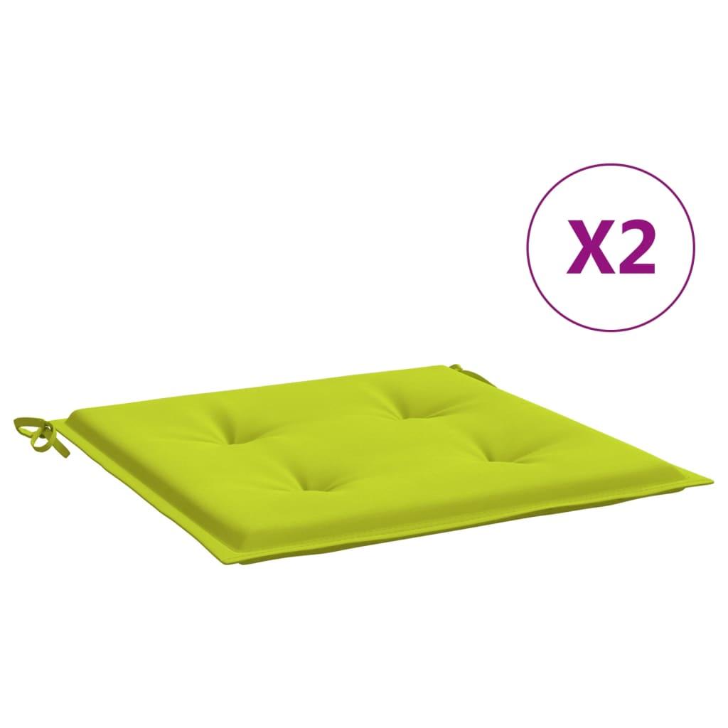vidaXL hynder til havestol 2 stk. 40x40x4 cm stof lysegrøn