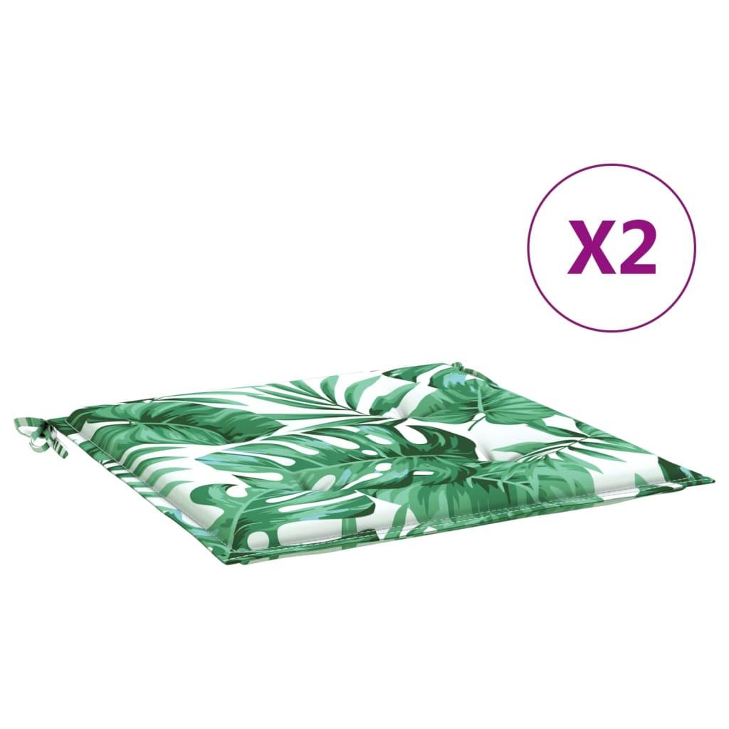Podušky na zahradní židle 2 ks vzor listů 40 x 40 x 4 cm textil
