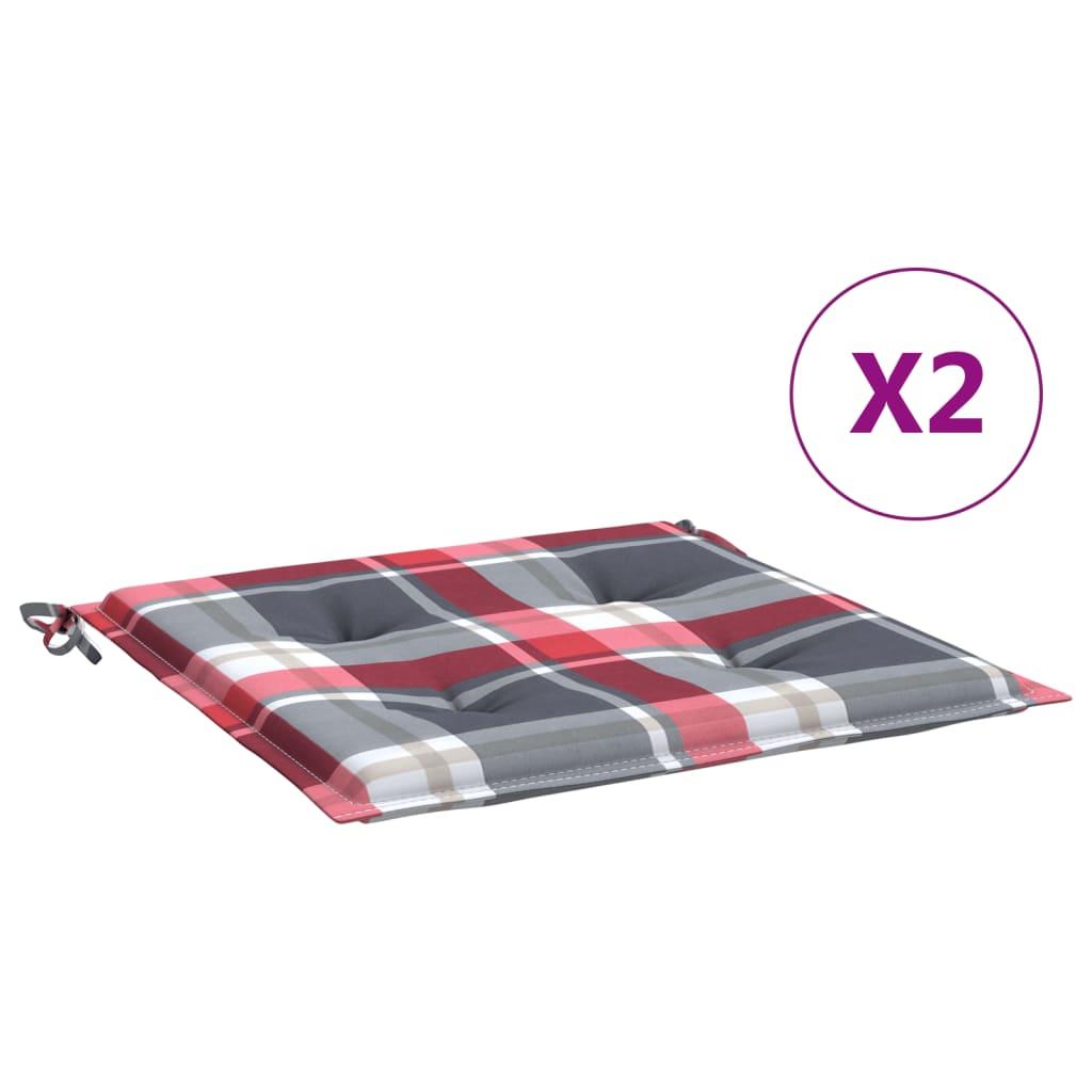 Podušky na zahradní židle 2 ks kárované 40x40x4 cm textil