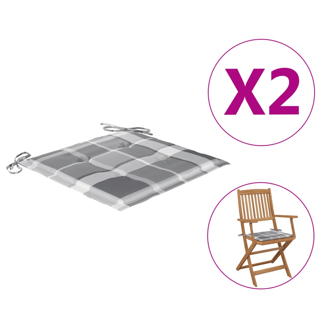 Podušky na zahradní židle 2 ks šedé kárované 40x40x4 cm textil