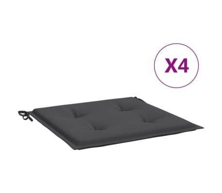 vidaXL Coussins de chaise de jardin 4 pcs Anthracite 50x50x4 cm Tissu