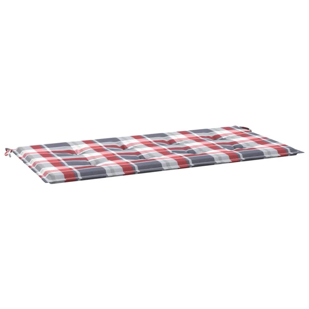 Poduška na zahradní lavici červená károvaná 100x50x4 cm textil