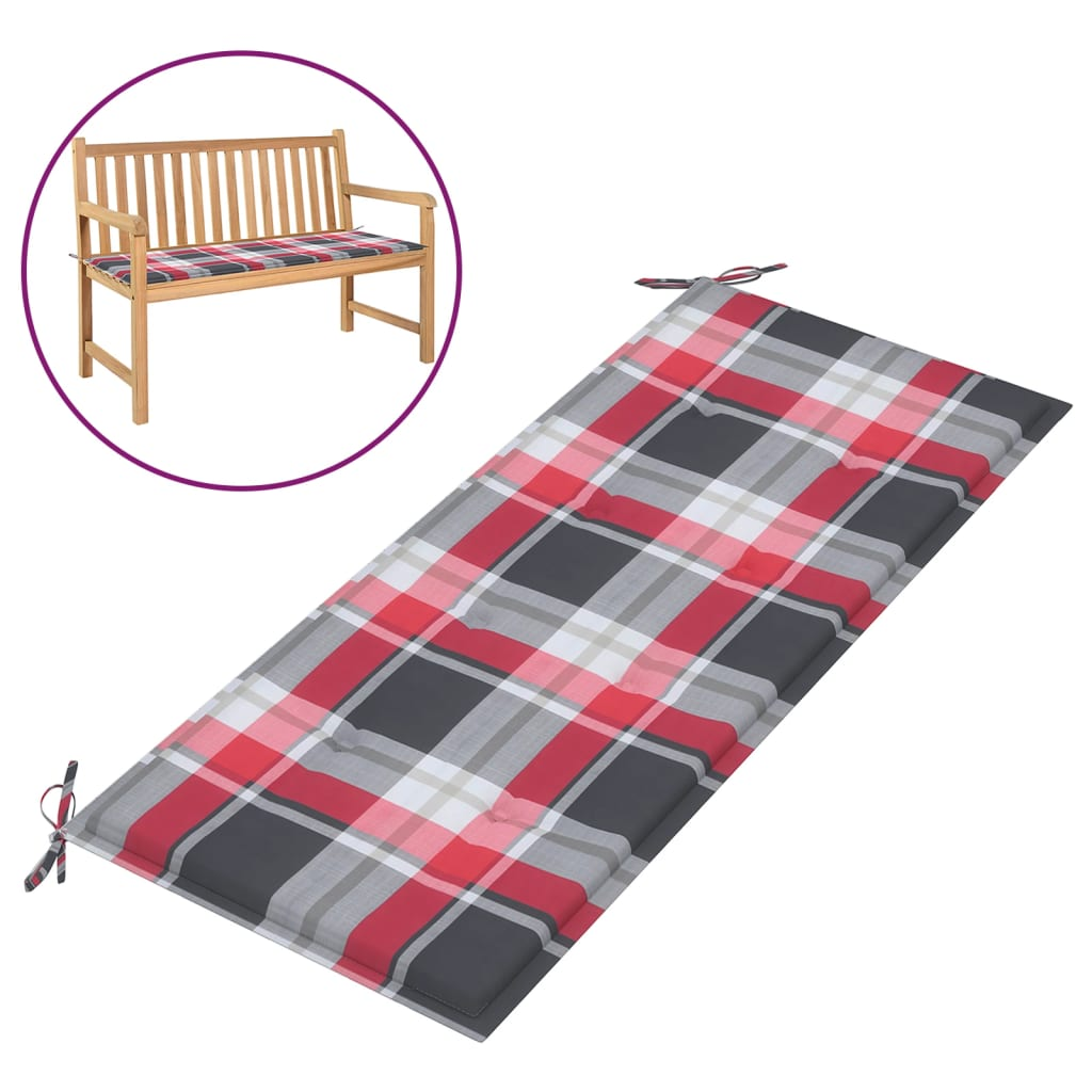 Poduška na zahradní lavici červená károvaná 120x50x4 cm textil