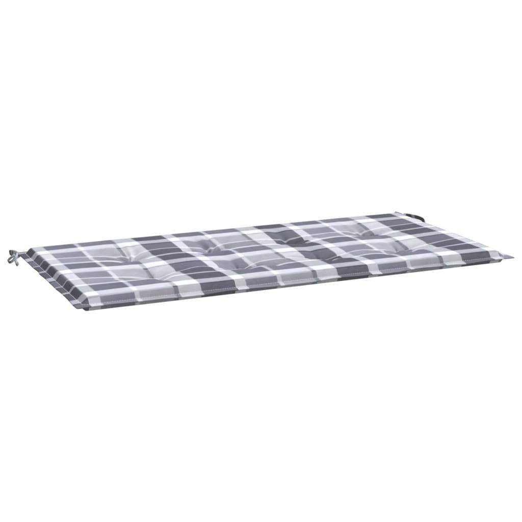 Poduška na zahradní lavici šedá károvaná 120 x 50 x 4 cm textil