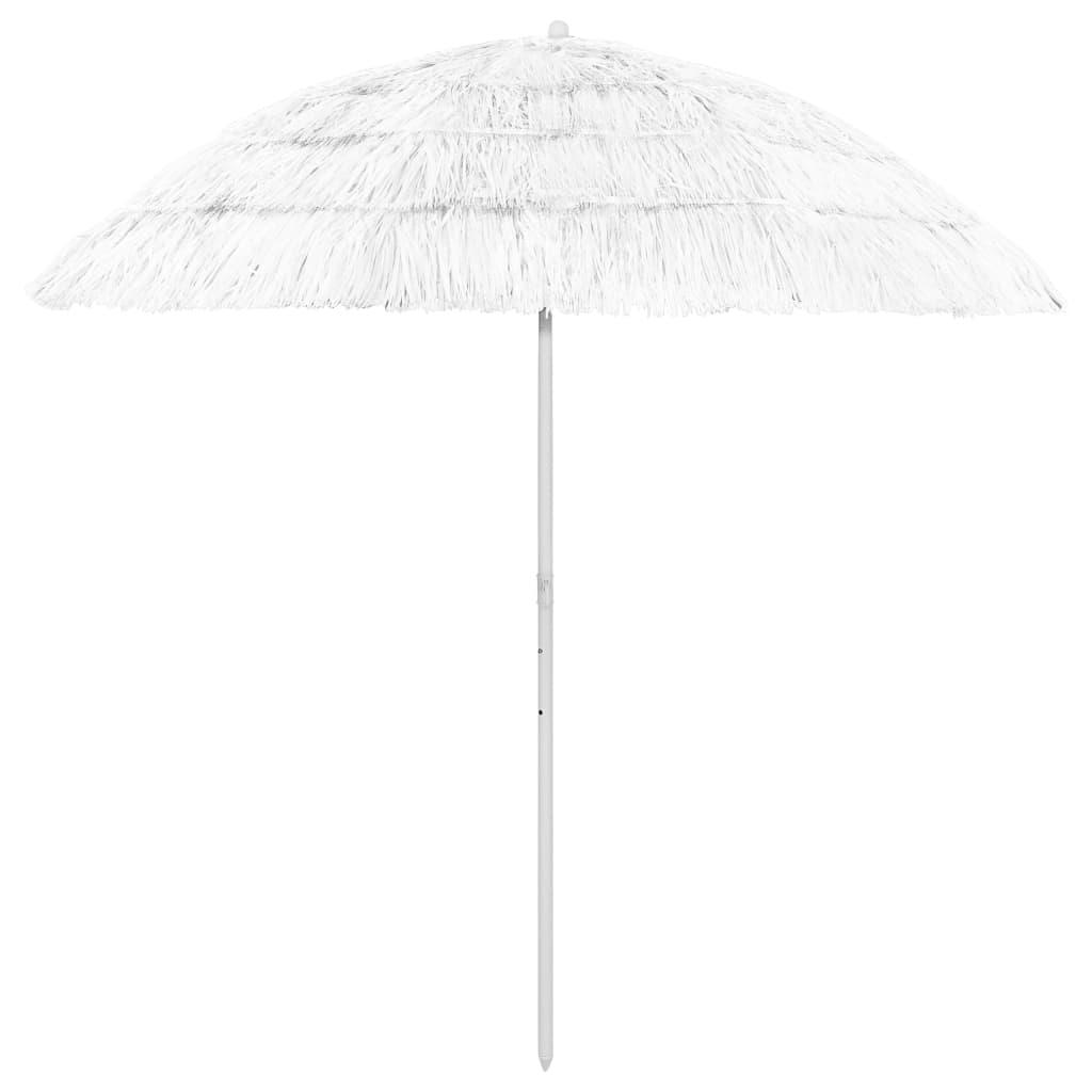 <ul><li>Farbe: Weiß</li><li>Material: Polyester</li><li>Gesamthöhe: 215 cm</li><li>Schirm-Bogenlänge: 240 cm</li><li>Schirm-Durchmesser: 210 cm</li><li>Witterungs- und UV-beständig</li><li>Kippbar</li><li>Hawaii-Stil</li><li>Montage erforderlich: Ja</li></ul>