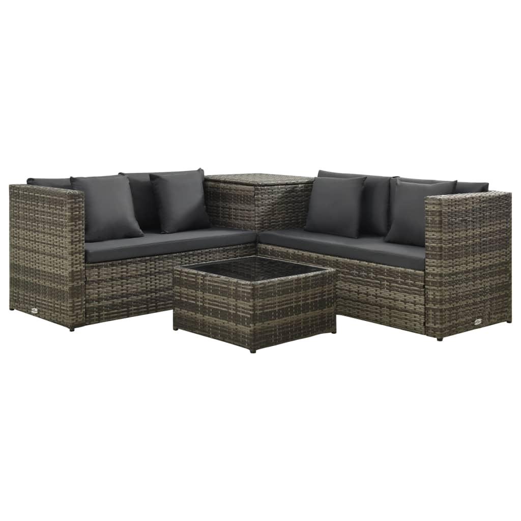 vidaXL Set mobilier de grădină cu perne, 4 piese, gri, poliratan imagine vidaxl.ro