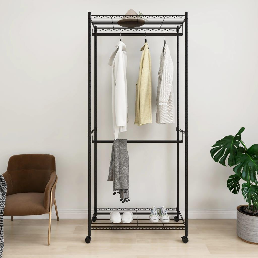 vidaXL Cuier de haine cu roți, 2 niveluri, negru, 90x45x198 cm, 100 kg poza vidaxl.ro