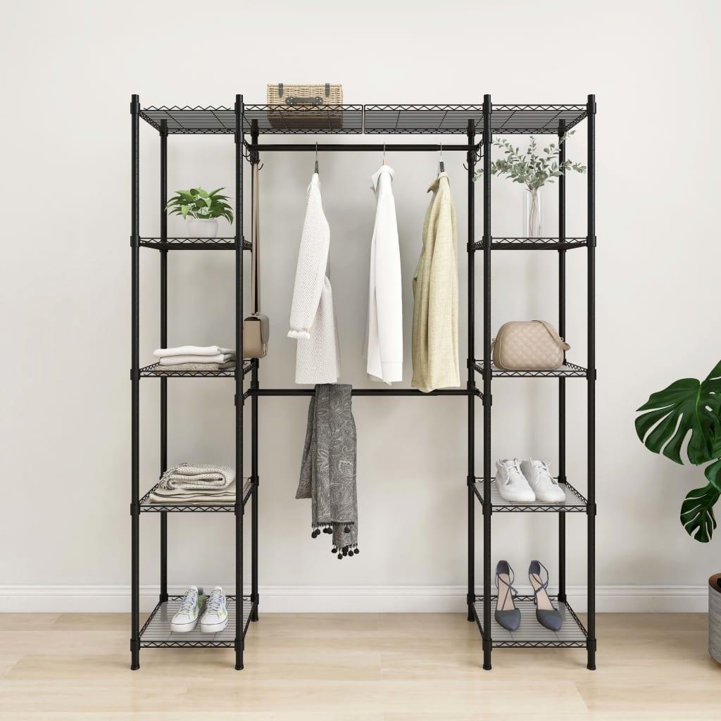 vidaXL Cuier pentru haine extensibil, negru, 500 kg poza 2021 vidaXL