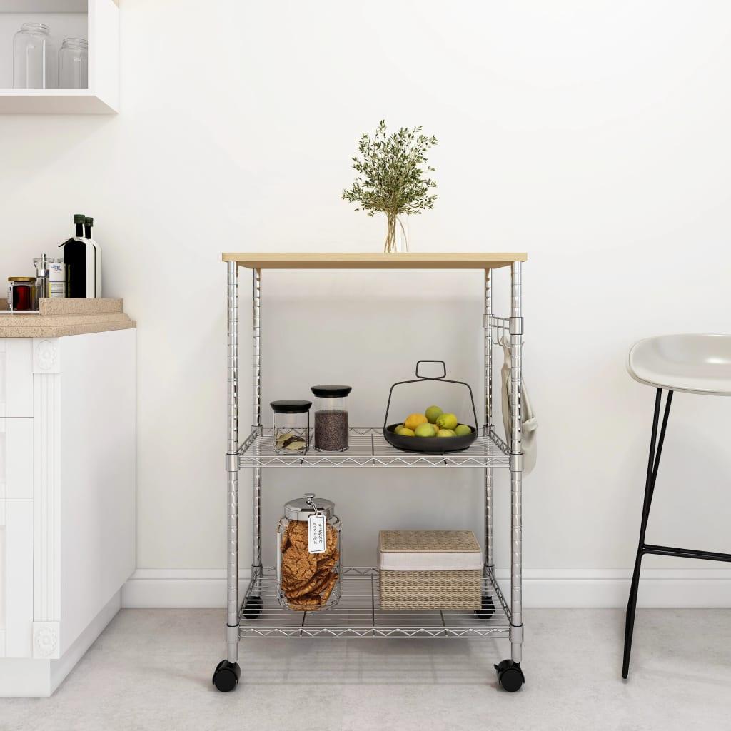 vidaXL Cărucior de bucătărie, 3 niveluri, 61 x 36 x 85 cm, fier cromat vidaxl.ro