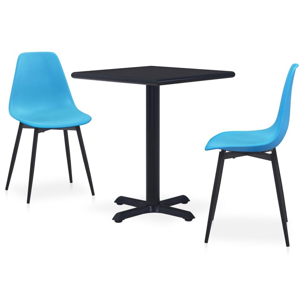 vidaXL Set mobilier de exterior, 3 piese, albastru, metal și PP vidaxl.ro