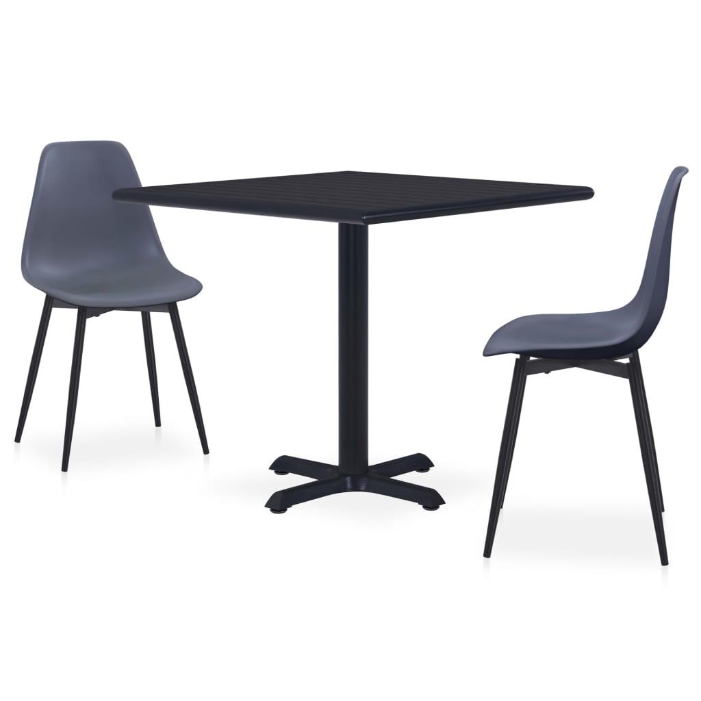 vidaXL Set mobilier de exterior, 3 piese, gri, metal și PP poza vidaxl.ro
