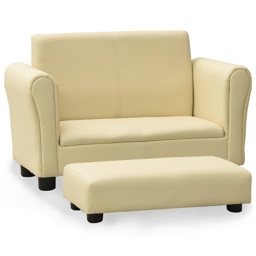 Dětská sedačka s podnožkou krémově bílá umělá kůže