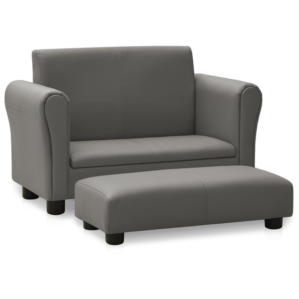 Dětská sedačka s podnožkou šedá umělá kůže
