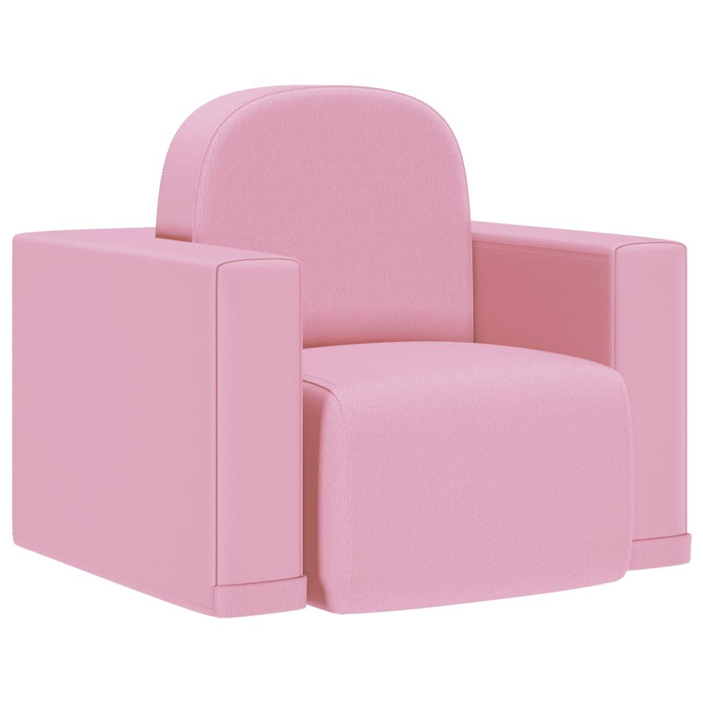 Dětské křeslo 2 v 1 růžové umělá kůže