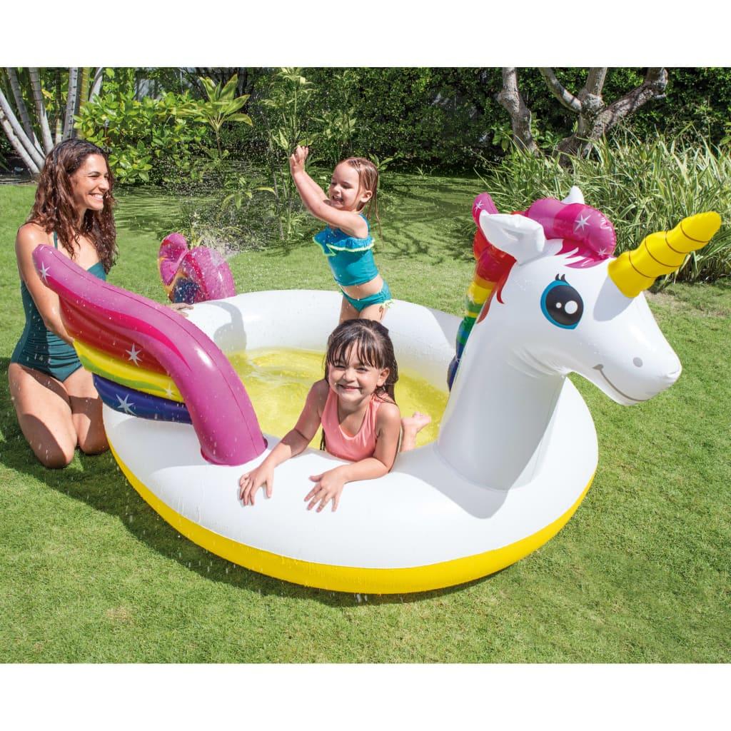 Intex badebassin med sprøjtefunktion Unicorn 272x193x104 cm