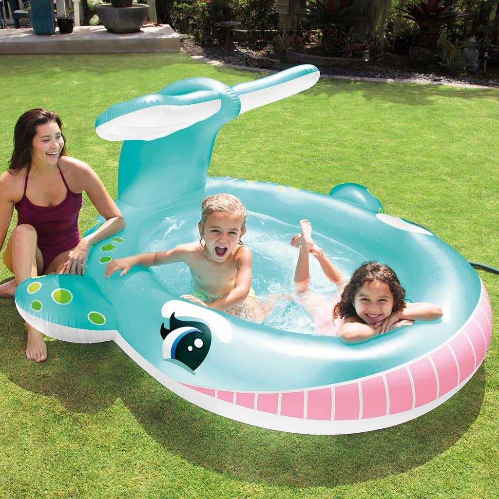 Intex badebassin med sprøjtefunktion Whale 201x196x91 cm