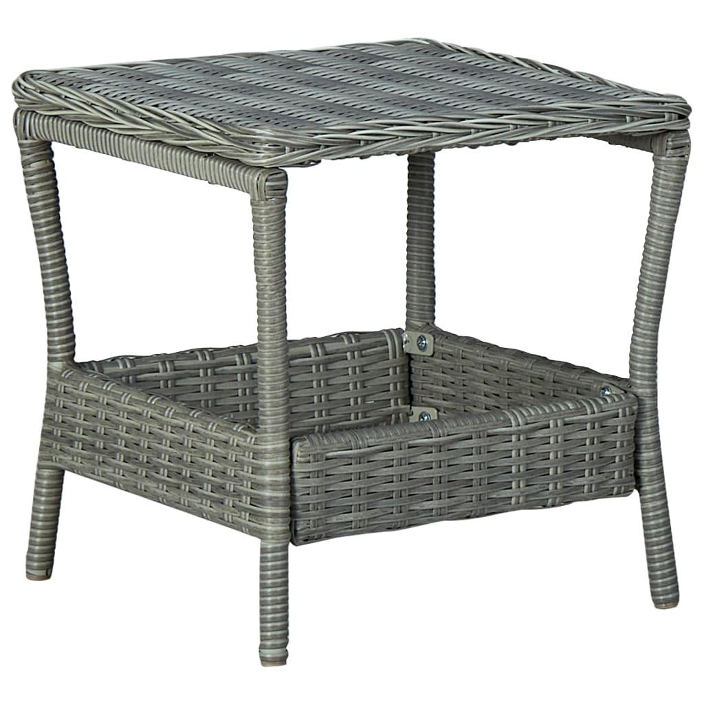 Zahradní stůl světle šedý 45 x 45 x 46,5 cm polyratan