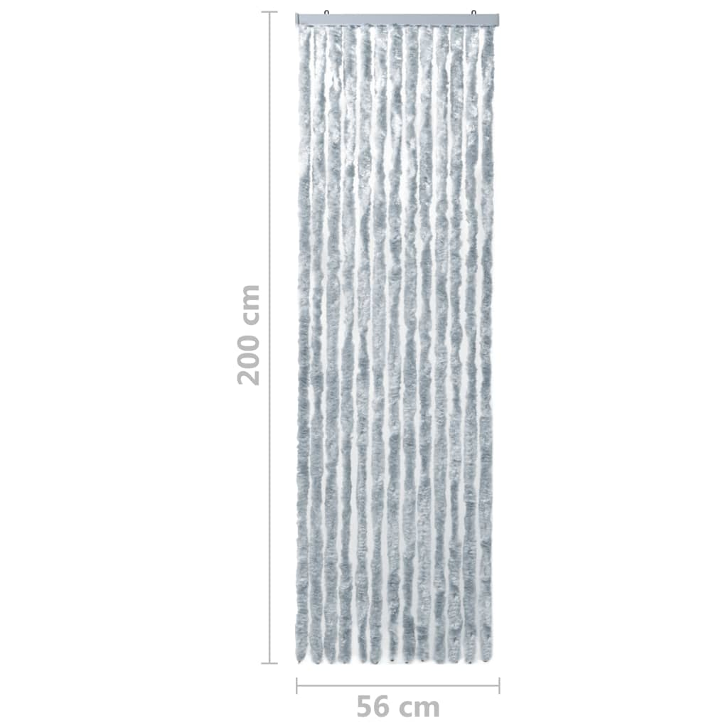 vidaXL Vliegengordijn 56x200 cm chenille wit en grijs