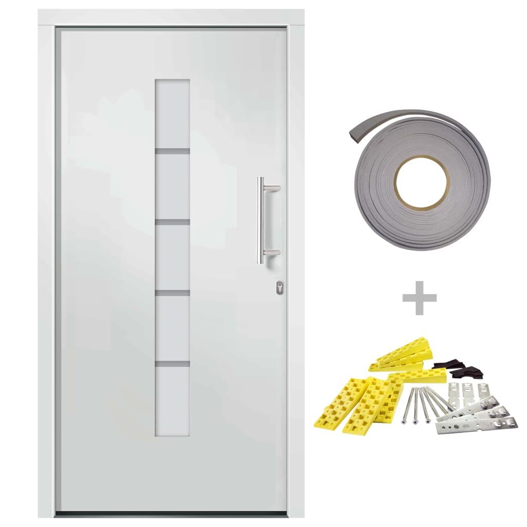 vidaXL Voordeur 100x200 cm aluminium en PVC wit