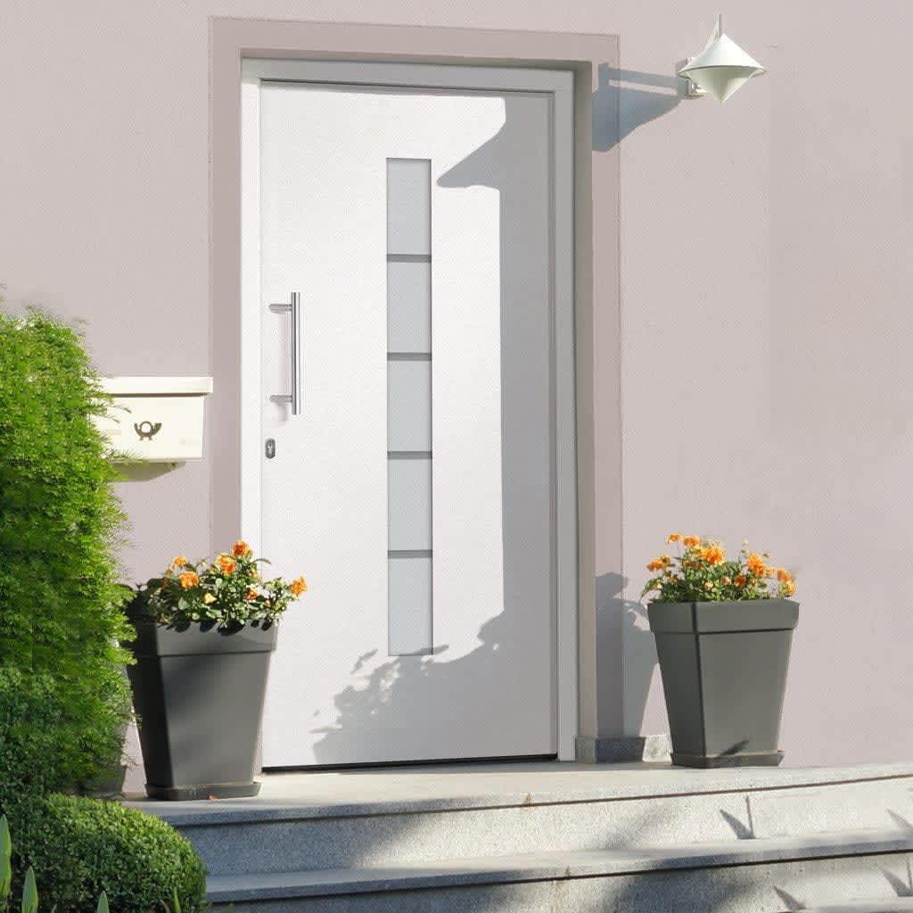 Voordeur 100x200 cm aluminium en PVC wit