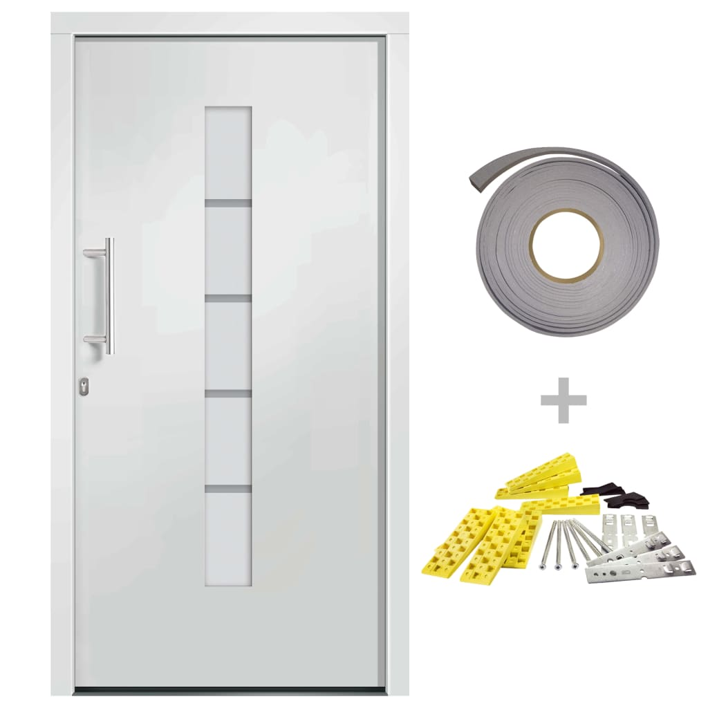 vidaXL Voordeur 100x210 cm aluminium en PVC wit