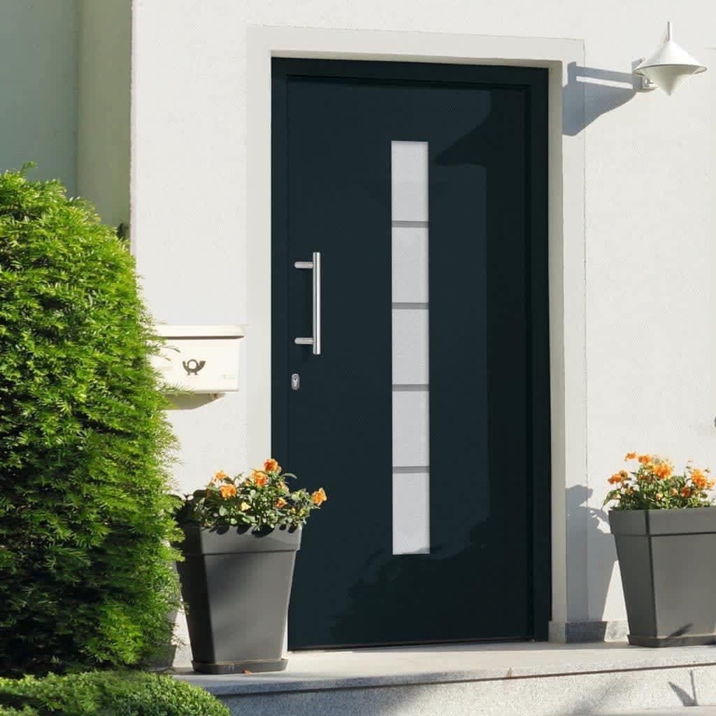 vidaXL Drzwi zewnętrzne, aluminium i PVC, antracytowe, 100x200 cm