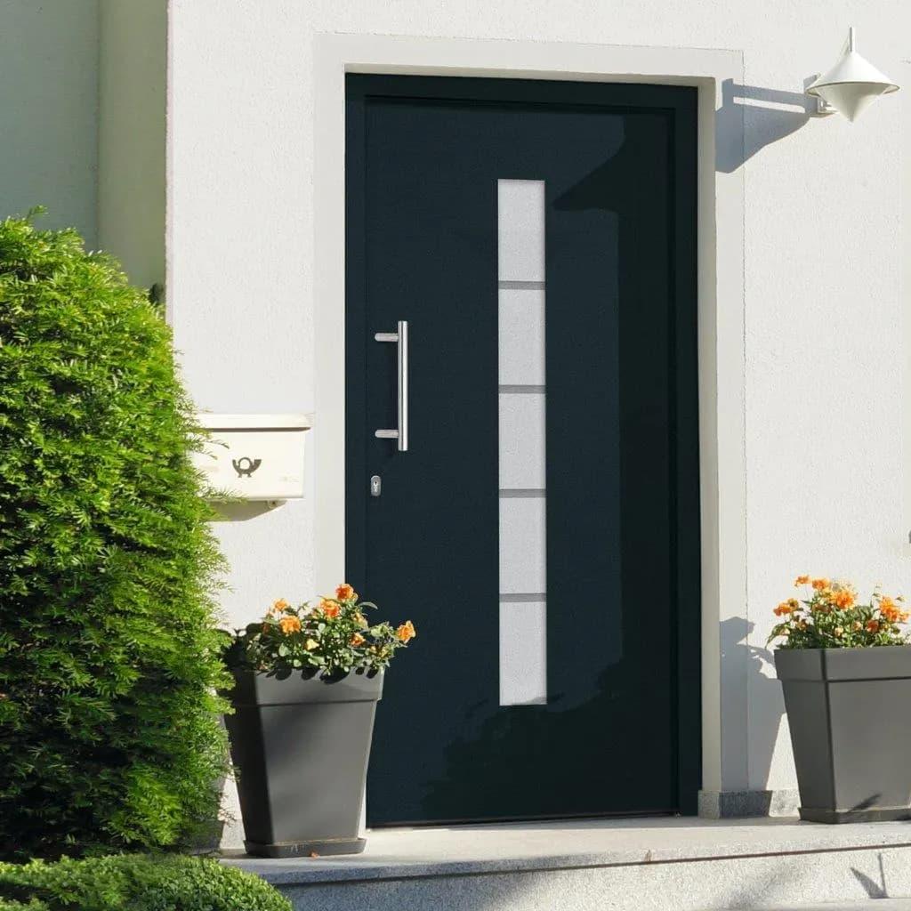 vidaXL Drzwi zewnętrzne, aluminium i PVC, antracytowe, 100x210 cm