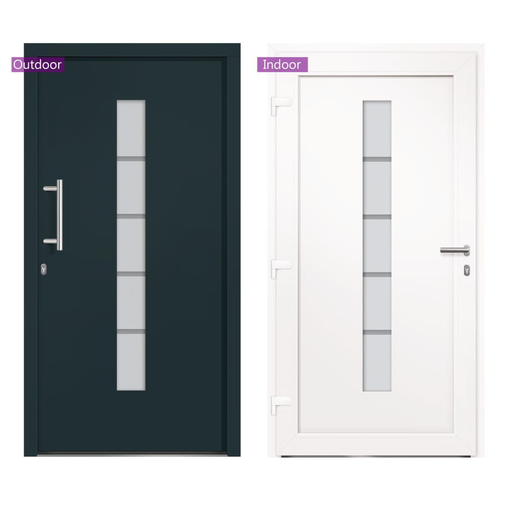 vidaXL Voordeur 110x210 cm aluminium en PVC antraciet