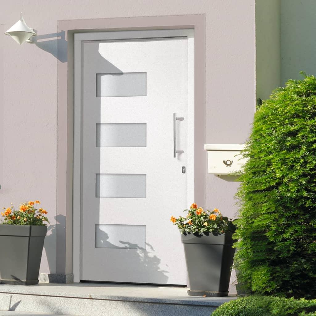 vidaXL Drzwi zewnętrzne, aluminium i PVC, białe, 100x210 cm