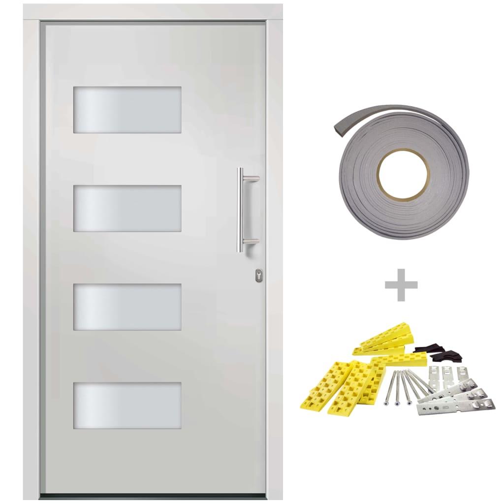 vidaXL Voordeur 110x210 cm aluminium en PVC wit