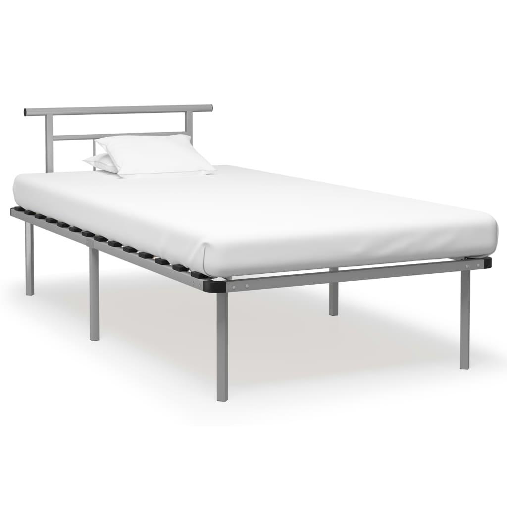 Rám postele šedý kov 100 x 200 cm