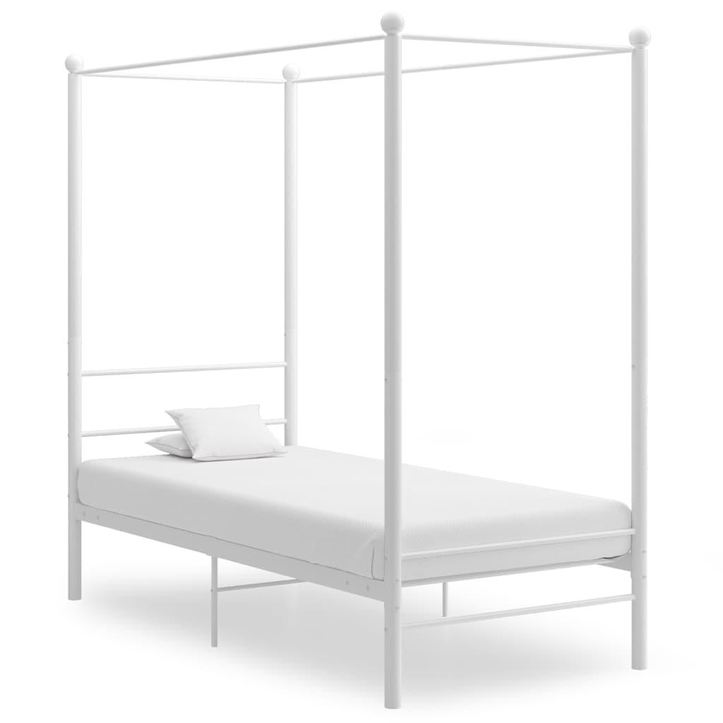 Rám postele s nebesy bílý kovový 90 x 200 cm