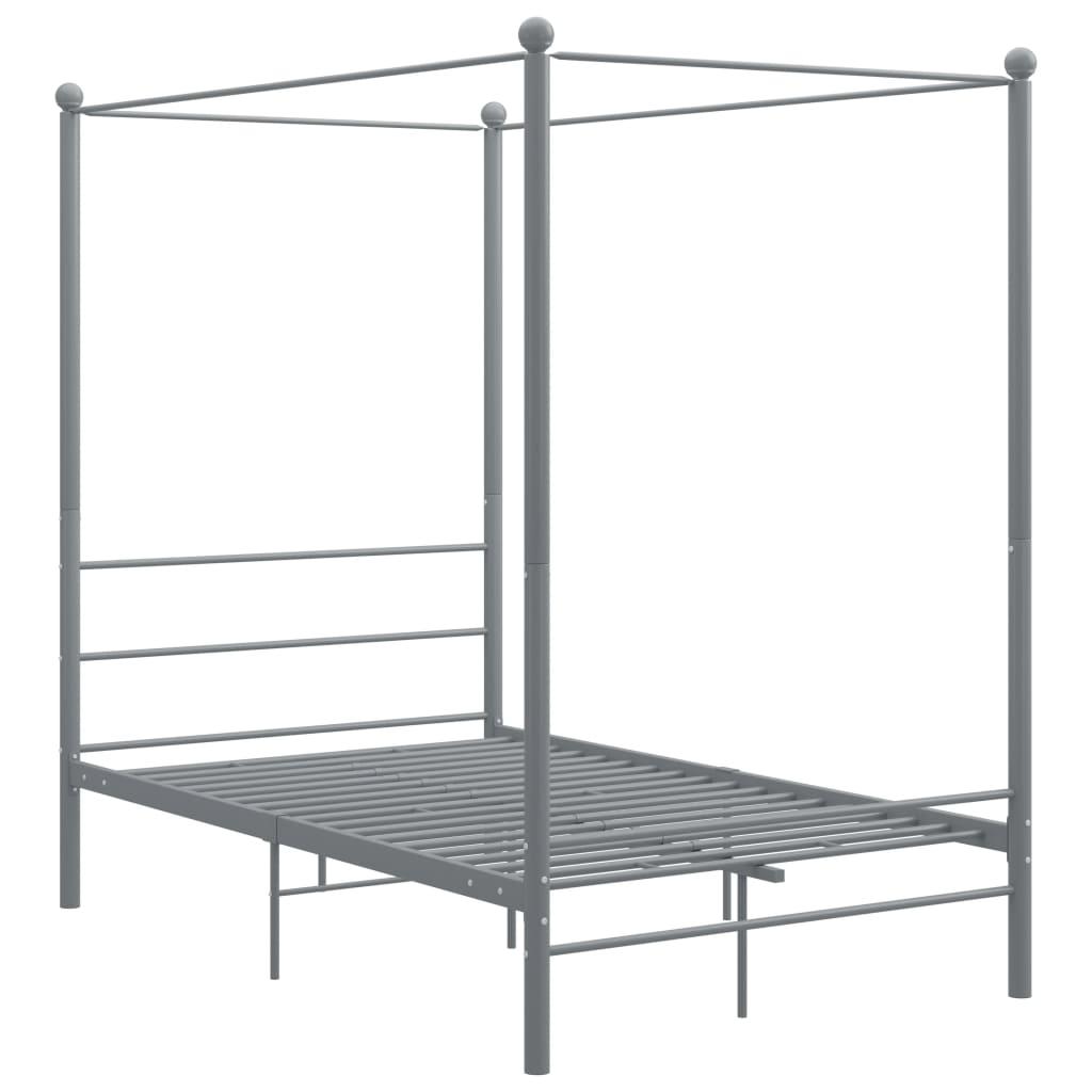Hemelbedframe metaal grijs 120x200 cm