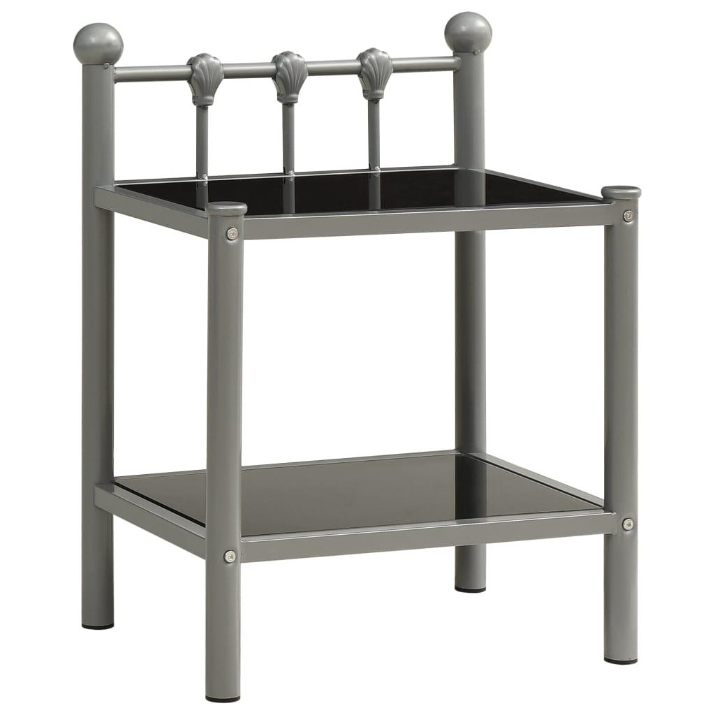 vidaXL Noćni ormarić sivo-crni 45 x 34,5 x 60,5 cm od metala i stakla