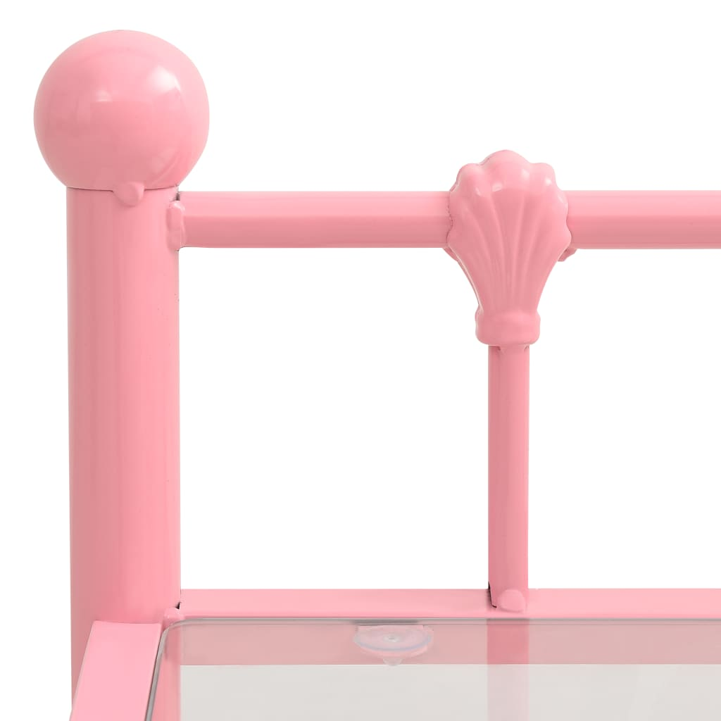 Nachtkastjes 2 st metaal en glas roze en transparant