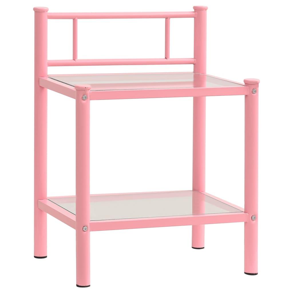 vidaXL Noćni ormarić ružičasti/prozirni 45x34,5x60,5 cm metal i staklo