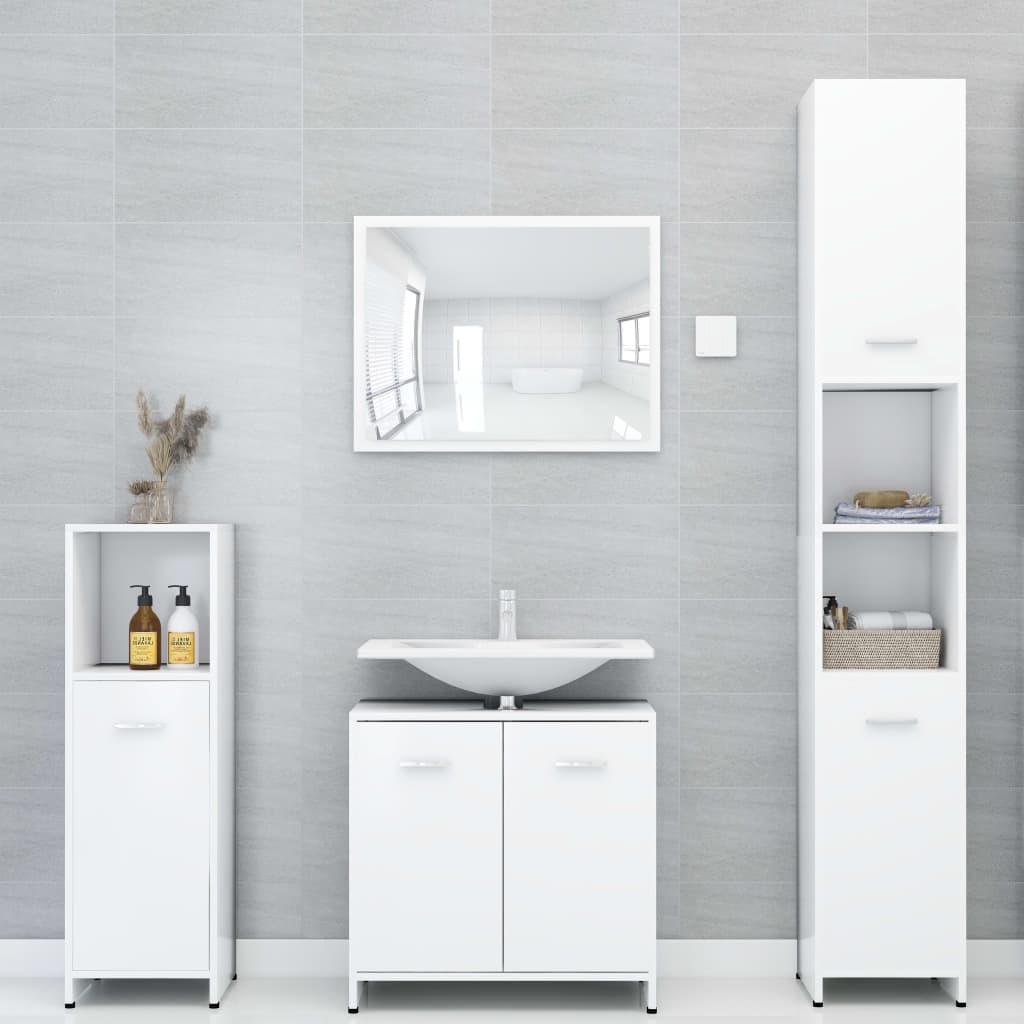 vidaXL Set mobilier de baie, 4 piese, alb, PAL imagine vidaxl.ro
