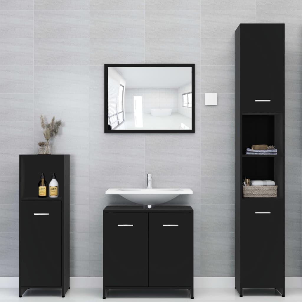 vidaXL Set mobilier de baie, 4 piese, negru, PAL imagine vidaxl.ro
