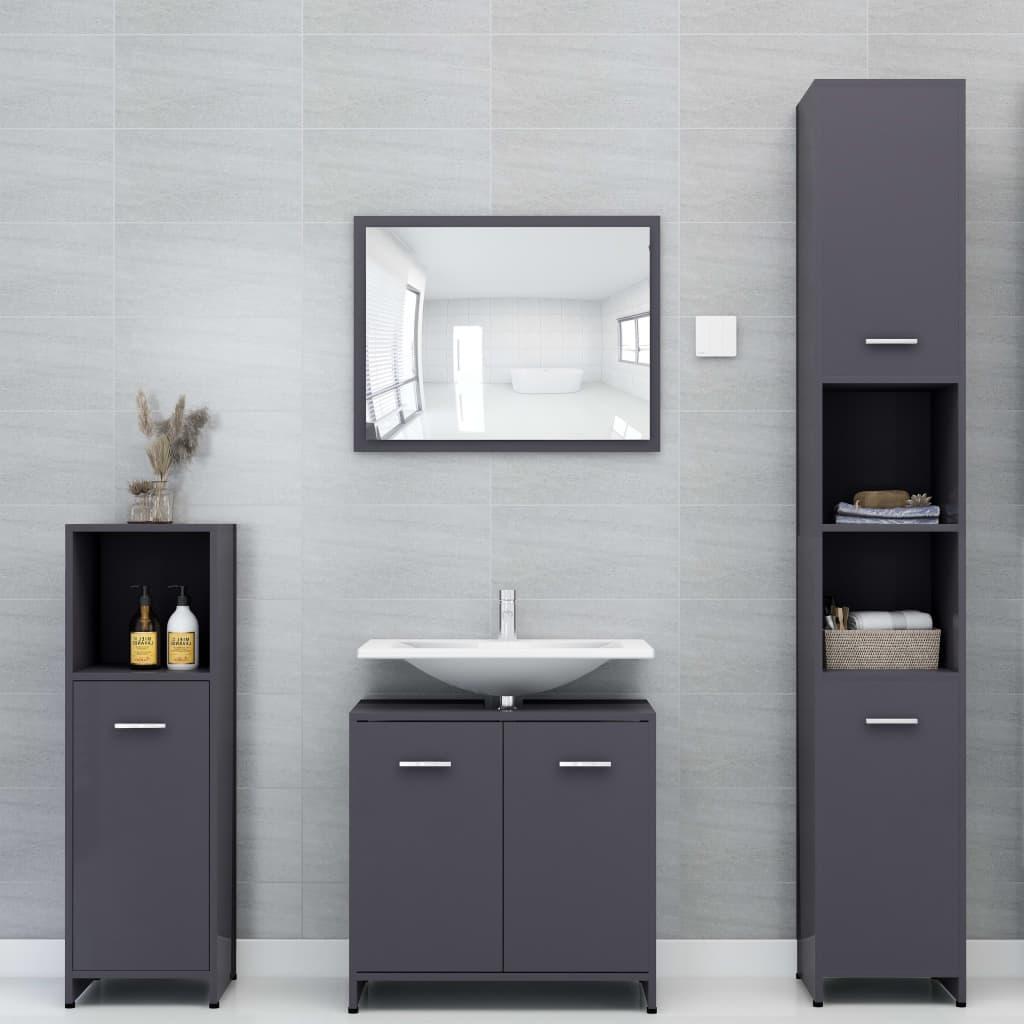 vidaXL Set mobilier de baie, 4 piese, gri, PAL vidaxl.ro