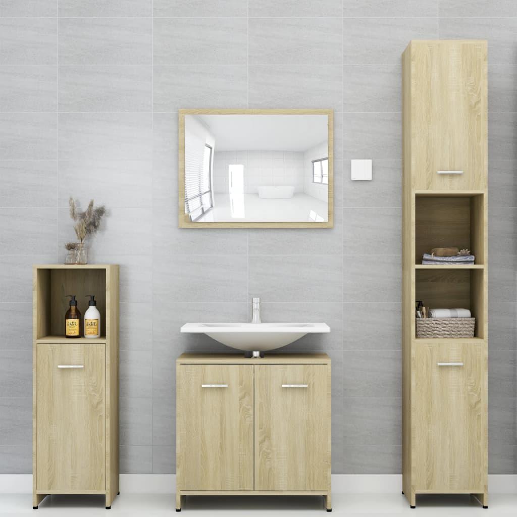 vidaXL Set mobilier de baie, 4 piese, stejar Sonoma, PAL poza vidaxl.ro